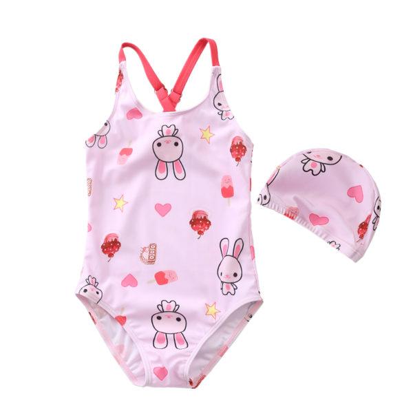 Set đồ bơi thỏ trắng cho bé gái